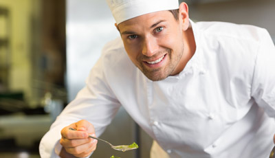 Chef wearing White Chef Jacket Uniform