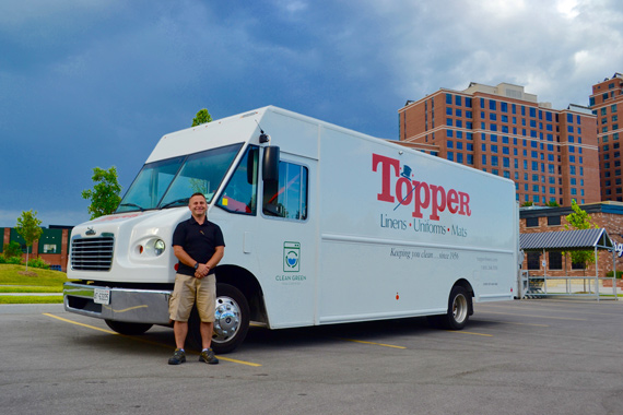 Topper Linen Delivery Truck and Driver