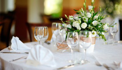 Restaurant Linens and Napkins on Dinner Table